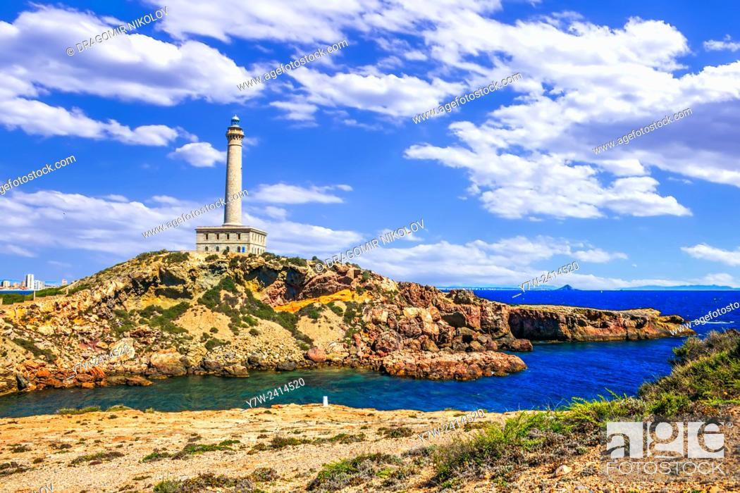 Stock Photo: Cabo de Palos Lighthouse on La Manga, Murcia, Spain.