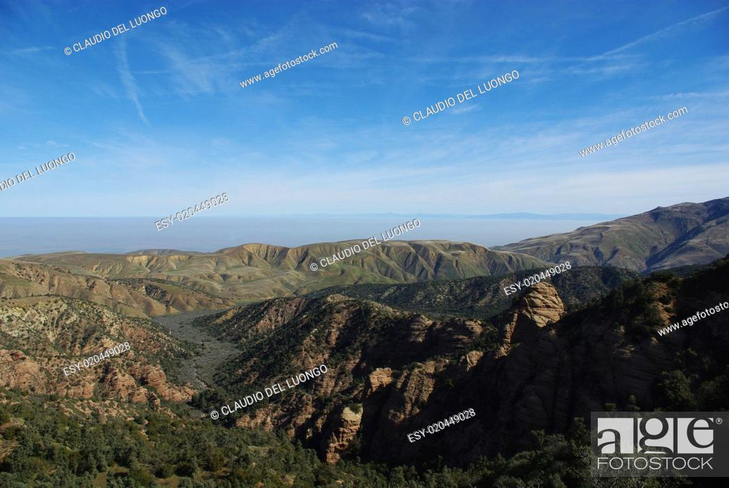 Stock Photo: Mountains and wide open plains, Los Padres National Forest,California.