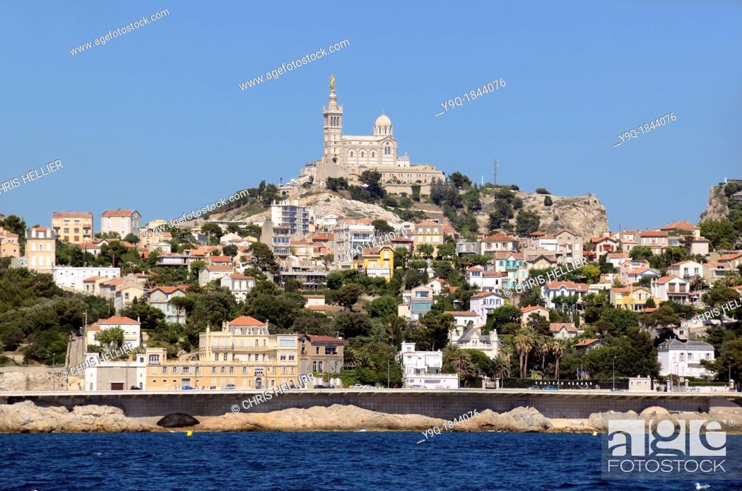 Stock Photo: Marseille Corniche Road and Basilica of Notre-Dame-de-la-Garde from the Sea Marseille or Marseilles France.