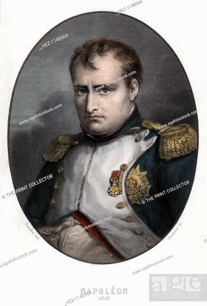 Stock Photo: Napoleon Bonaparte, 1840. Portrait of Napoleon Bonaparte (1769-1821) made in the year of the Battle of Waterloo (1815). Napoleon enjoyed a meteoric rise through.