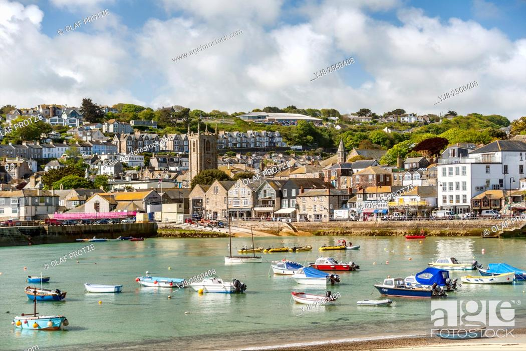 Stock Photo: View over the fishing harbour of St Ives, seen from Smeatons Pier, Cornwall, England, UK.