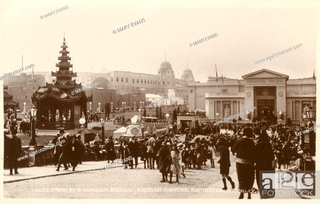 Stock Photo: General view of the British Empire Exhibition, held at Wembley between April and October 1924, seen from Old London Bridge.