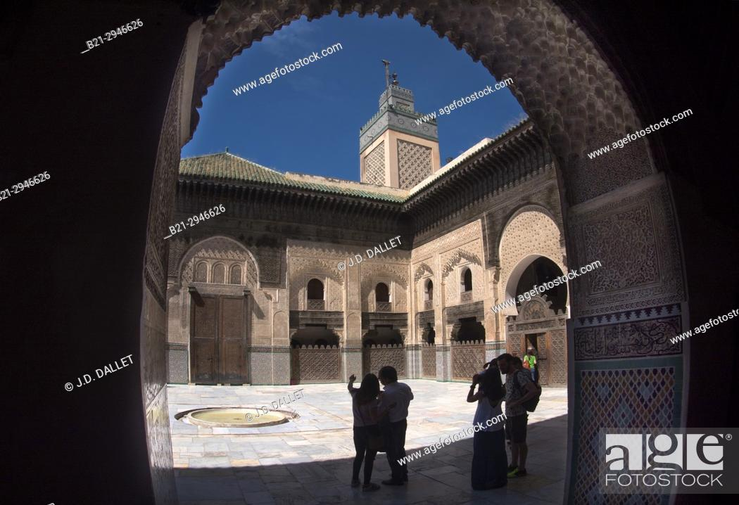Stock Photo: Morocco, Fes, Bou Inania Madrasa. The Madrasa Bou Inania (also Bu Inaniya) is a madrasa in Fes, Morocco, founded in AD 1351–56 by Abu Inan Faris.