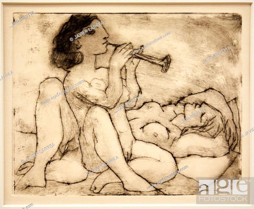 """Stock Photo: """"Flûtiste et dormeuse"""", 1933, Pablo Picasso, Picasso Museum, Paris, France, Europe."""