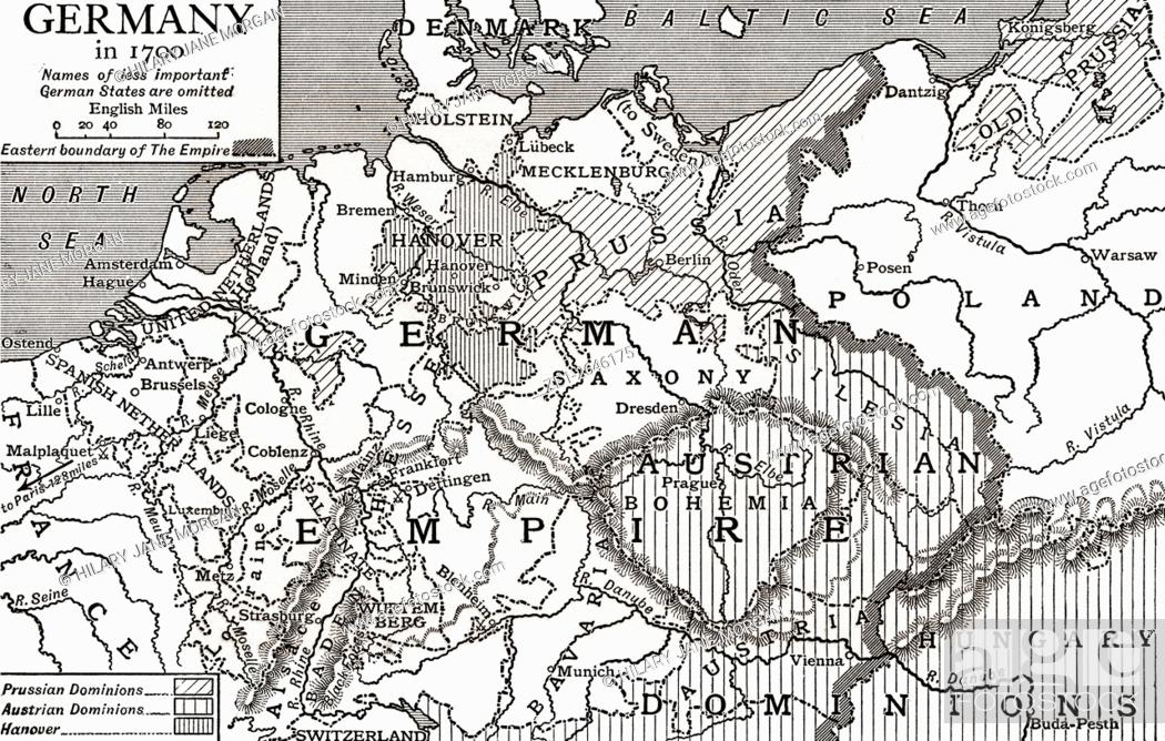 Map Of England Germany.Map Of Germany In 1700 From The Story Of England Published 1930