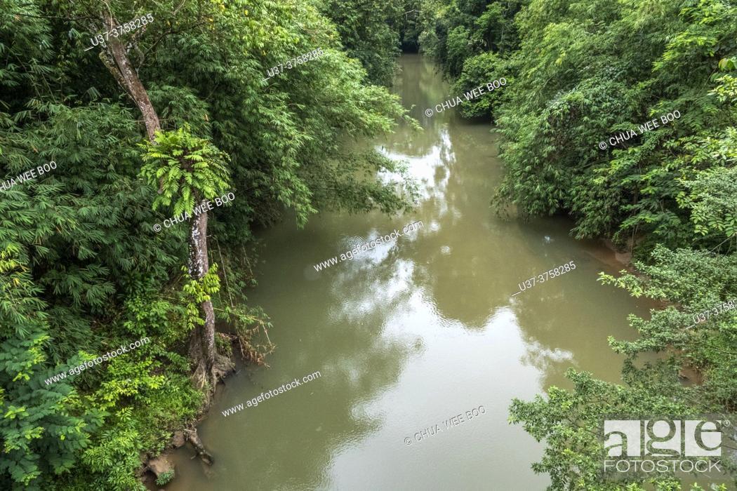 Stock Photo: An old wooden suspension bridge at Kampung Bengoh, Sarawak, East Malaysia.