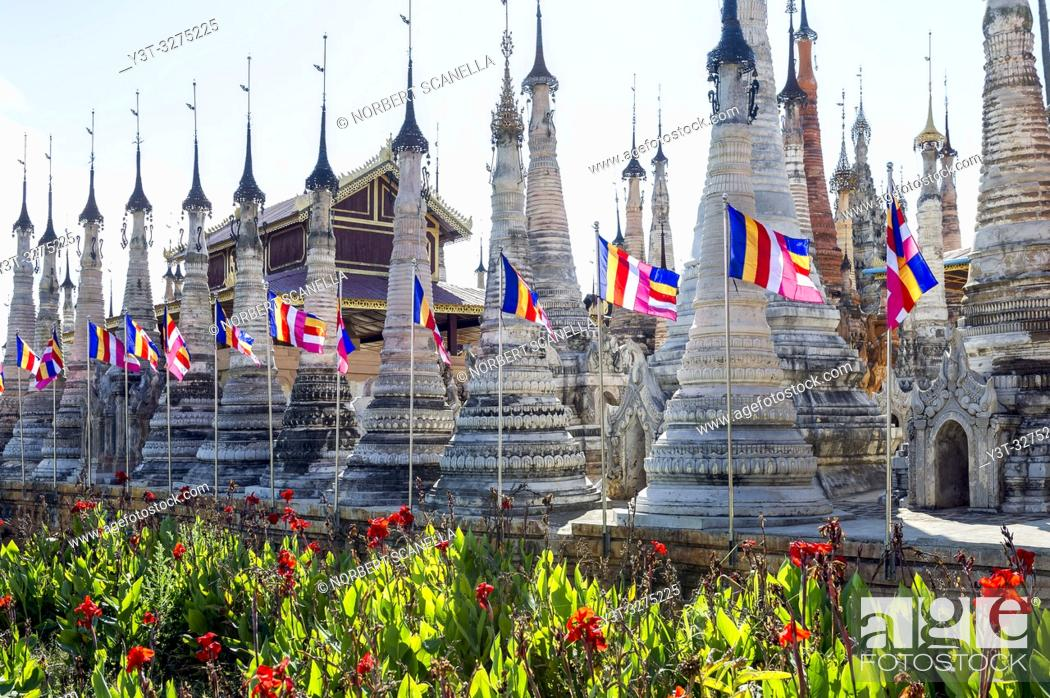 Stock Photo: Myanmar (ex Birmanie). Sankar lake. Shan state. Temple of Takhaung Mwetaw, and its 236 stupas some of which date back to the 18th century.