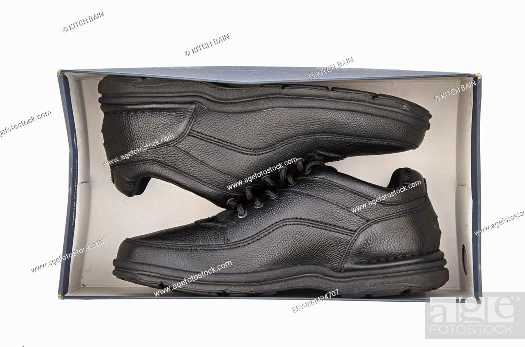 Stock Photo: A studio photo of black walking shoes.