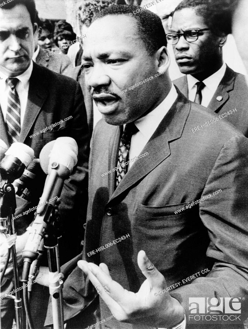 Stock Photo: Martin Luther King, Jr. 1929-1968, speaking at an informal news conference in Selma, Alabama, 1965.