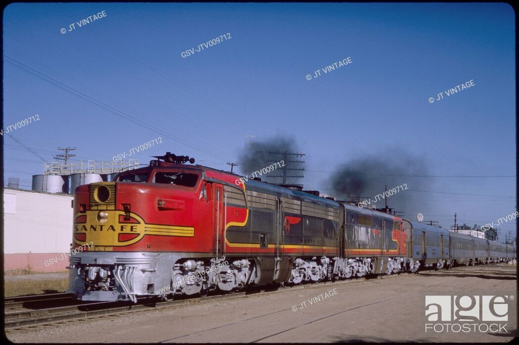 Stock Photo: Santa Fe Diesel Locomotive Train, Barstow, California, USA, 1966.