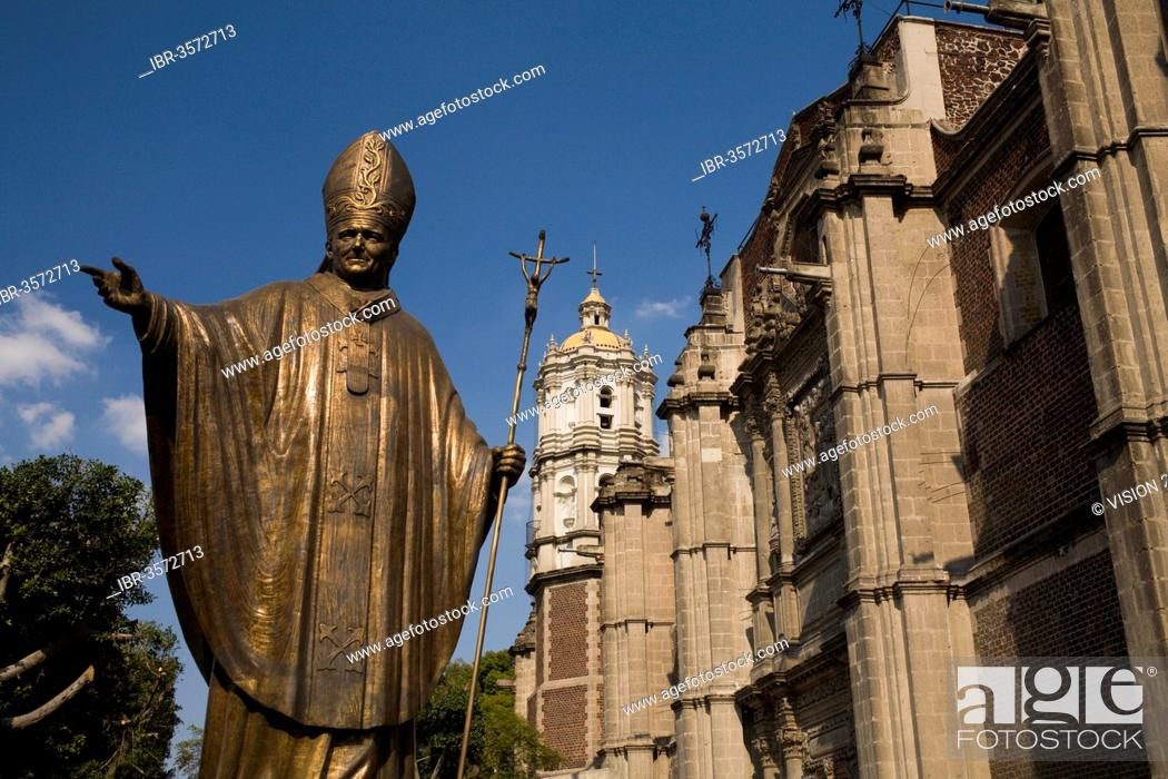 Stock Photo: Statue of John Paul II next to the old Basilica of Our Lady of Guadalupe, Mexico City, Federal District, Mexico.