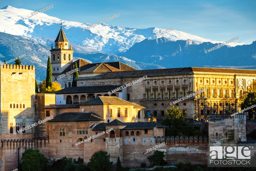 Stock Photo: Alhambra. Nazaries Palaces and Palace of Charles V from Mirador de San Nicolas. Granada, Andalucia, Spain, Europe.