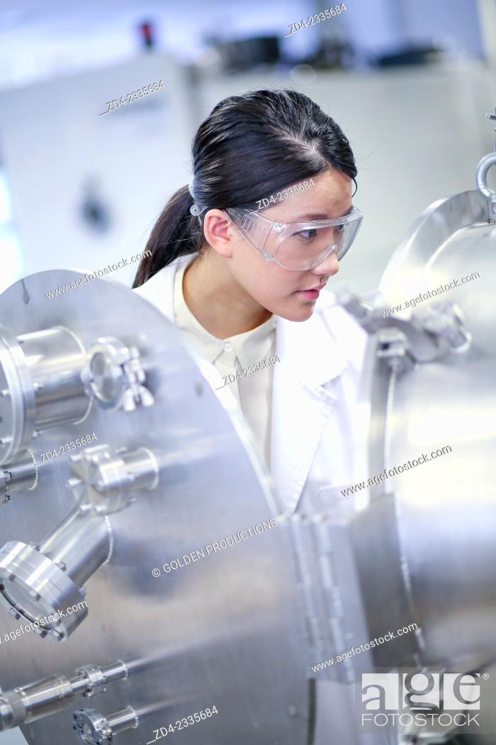 Stock Photo: Researcher. Vacuum chamber microwave plasma. Laboratory surfaces. Tecnalia Research and Innovation. Donostia. San Sebastian. Gipuzkoa. Basque Country.