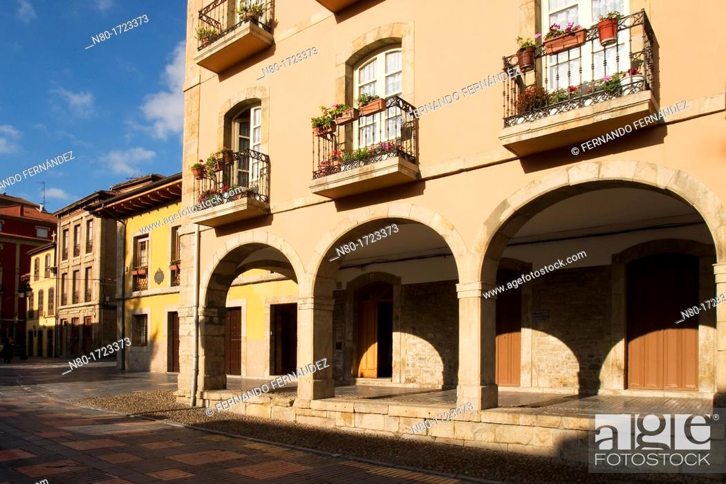 Stock Photo: Calle Galiana street in old town, Aviles, Asturias, Spain.