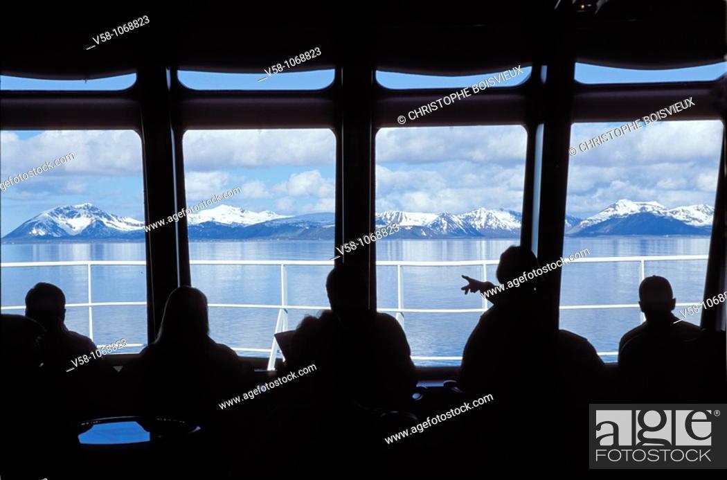 Stock Photo: Norway, Nordland, Harstad region, On board Coastal Steamer Richard With.