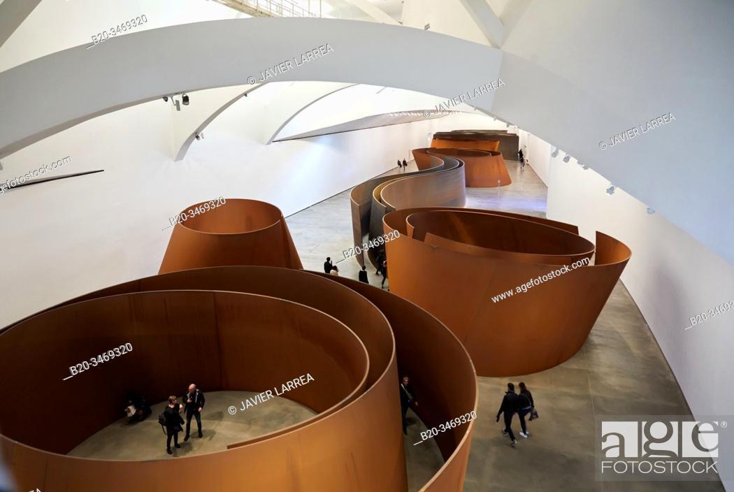 "Stock Photo: """"""The Matter of Time"""", 1994-2005, Richard Serra, Guggenheim Museum, Bilbao, Bizkaia, Basque Country, Spain, Europe."