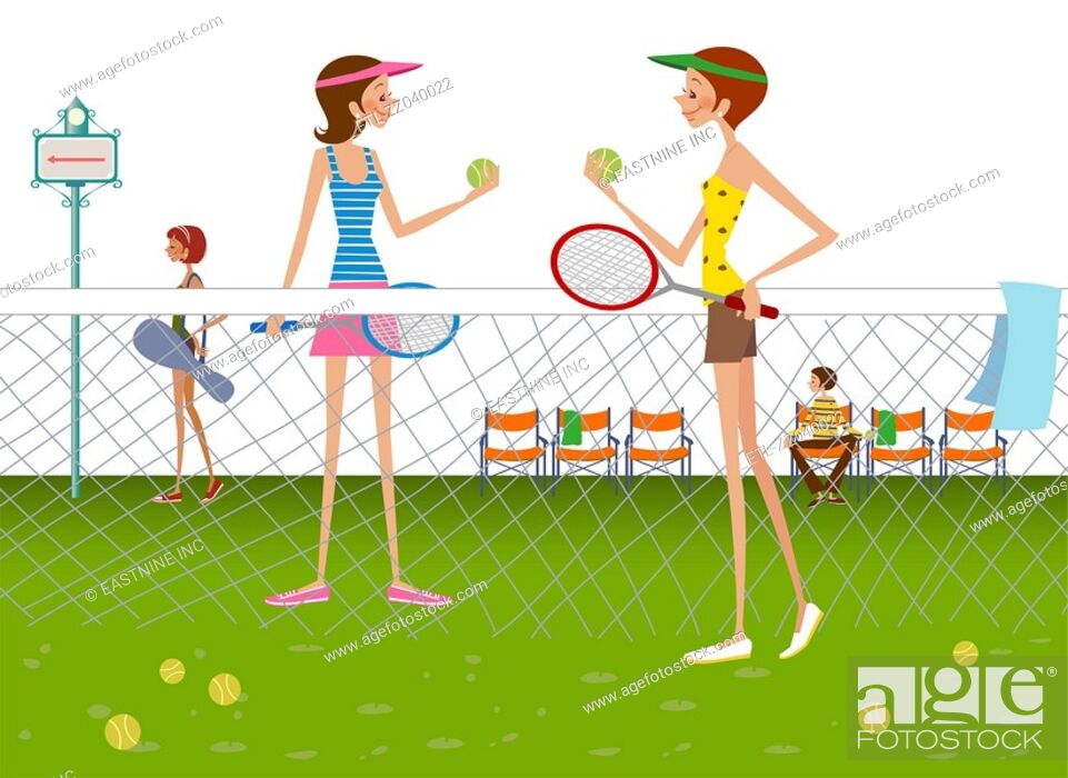 Stock Photo: Two women standing in tennis court holding tennis balls and rackets.