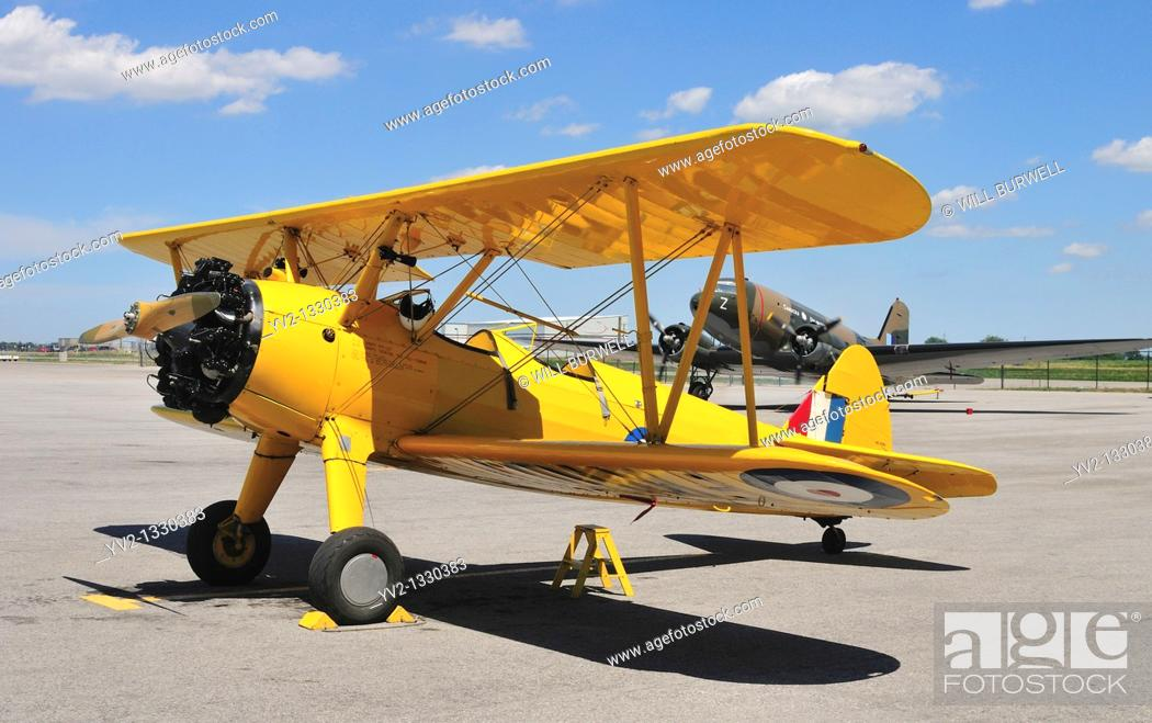 Stock Photo: Stearman and DC3 Dakota Aircraft.