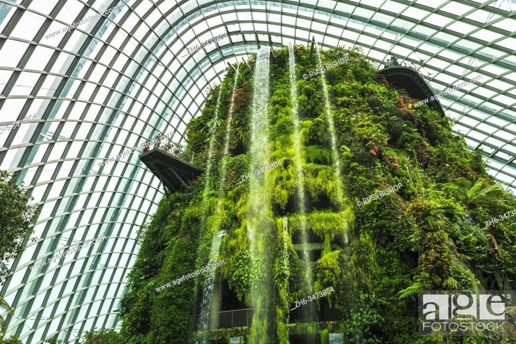 Imagen: The Fall in the Cloud Forest Dome, Gardens by the Bay, Singapore, Republic of Singapore.