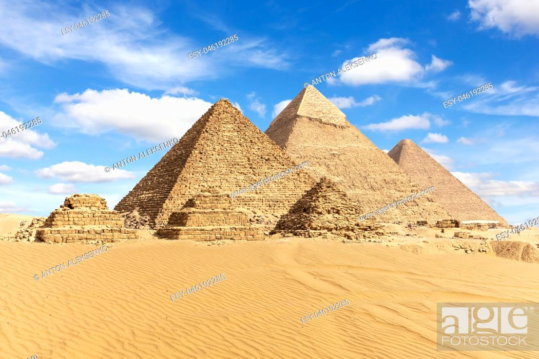 Stock Photo: Egypt, the Great Pyramids of Giza view.