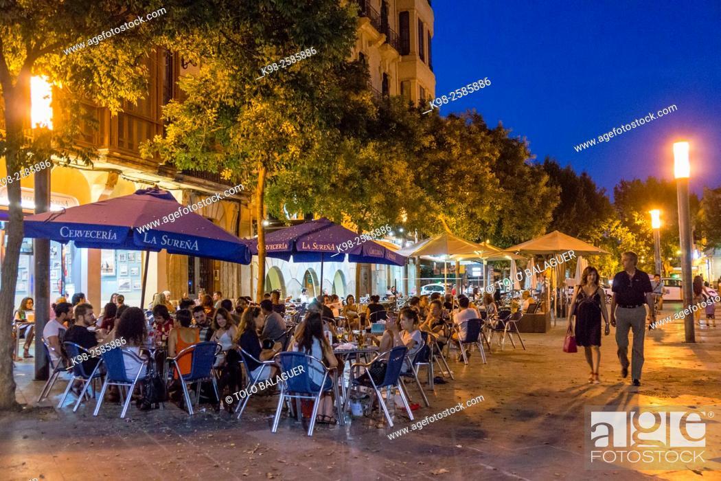 Terraza De Bar Plaza De Espanya Palma Majorca Balearic