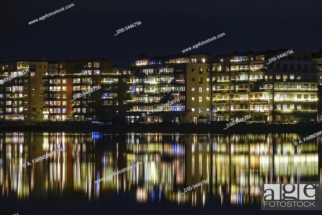 Stock Photo: Stockholm, Sweden The island of Lilla Essingen at night.