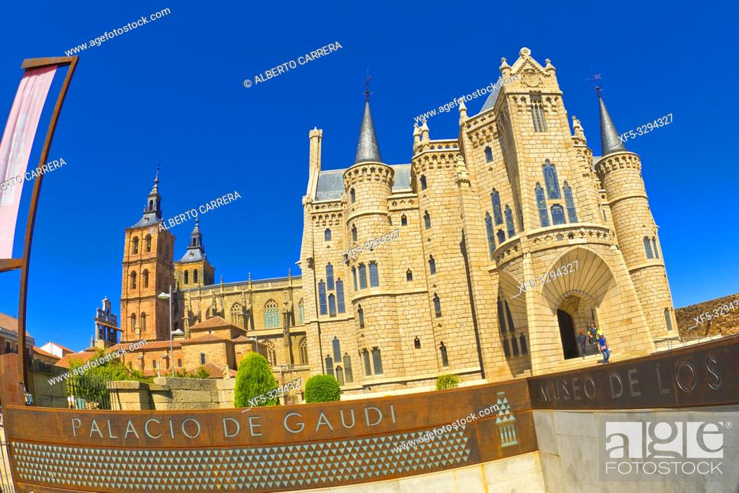 Stock Photo: Episcopal Palace of Astorga, Palace of Gaudí, 19th Century Neogothic Style, Spanish Property of Cultural Interest, Astorga, León, Castilla y León, Spain, Europe.