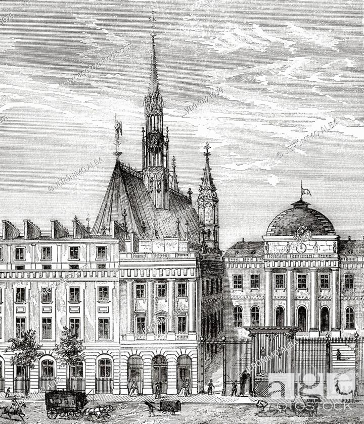 Stock Photo: Palais de Justice, Paris. France. Old 19th century engraved illustration from Histoire de la Revolution Francaise 1876 by Jules Michelet (1798-1874).