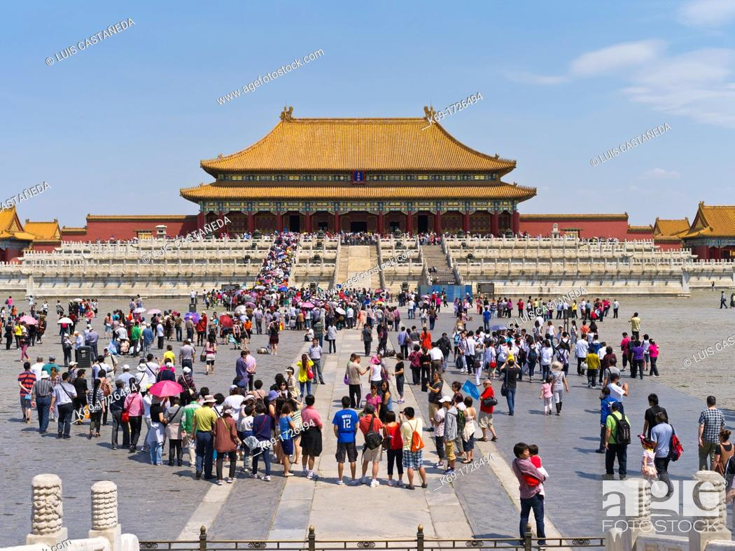 Stock Photo: The Forbidden City was the Chinese imperial palace from the Ming Dynasty to the end of the Qing Dynasty  It is located in the middle of Beijing, China.