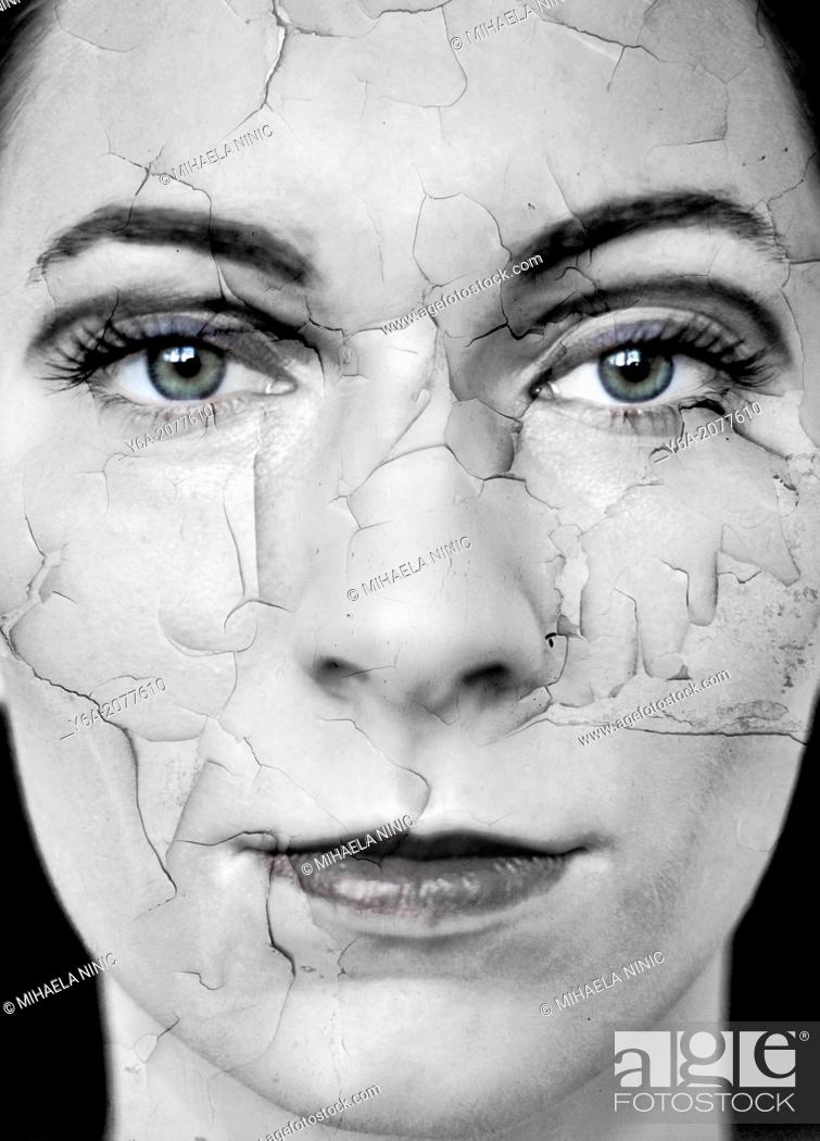 Stock Photo: Woman with dry cracked skin, digital composite.