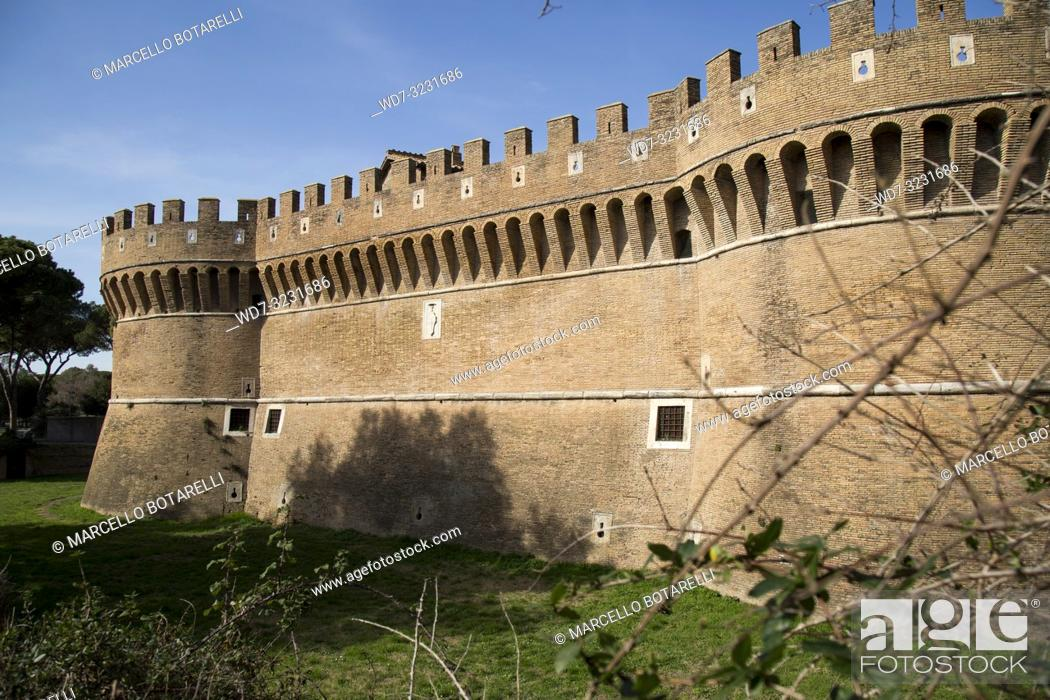 Stock Photo: castle and tower in the village of Ostia Antica, near Rome, Italy.