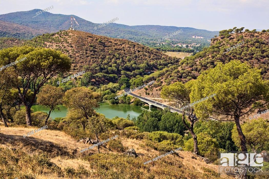 Stock Photo: Embalse de Picadas desde el cerro San Juan  Navas del Rey. Madrid, Spain.
