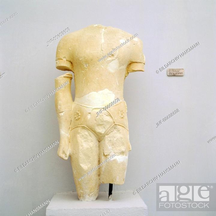 Stock Photo: fine arts, ancient world, Greece, sculpture, torso of a priest-king, limestone, Paphos, circa 550 - 500 BC, Cyprus Museum, Nicosia,.