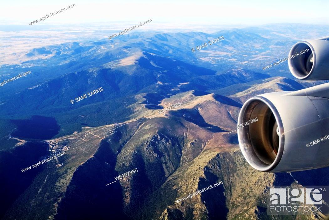 Stock Photo: Engines of an aeroplane while mid-air, Spain.