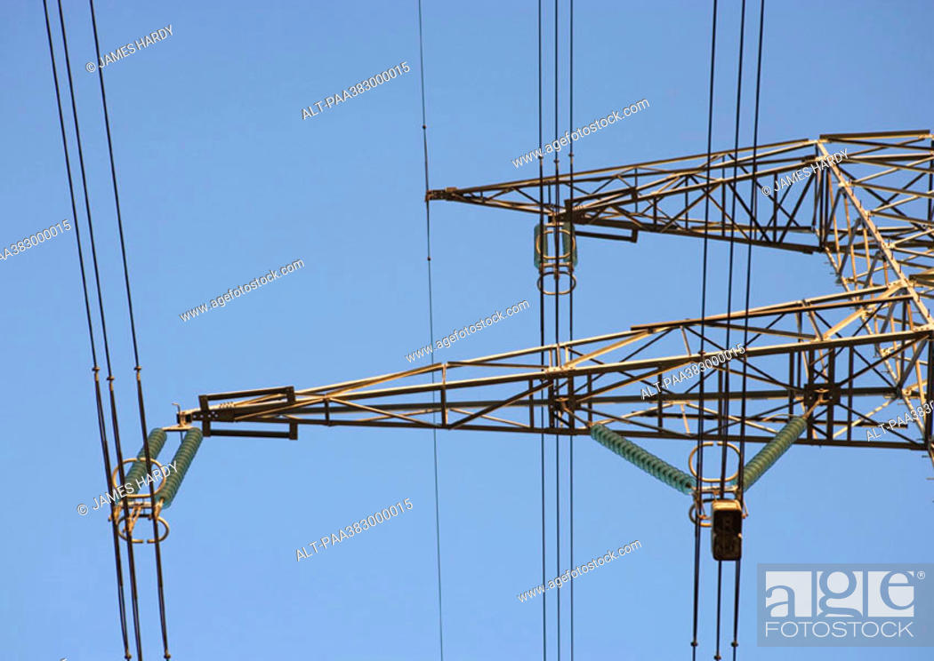 Stock Photo: Electric pylon, low angle view, partial view.