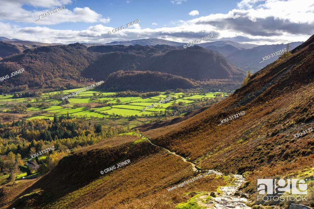 Stock Photo: The footpath to Catbells overlooking the Borrowdale Valley and Grange Fell beyond. Lake District National Park, Cumbria, England.