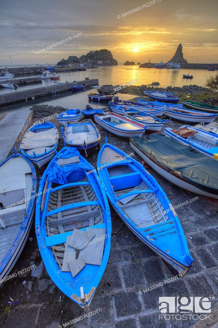 Stock Photo: The little port of Aci Trezza, Sicily, Italy.