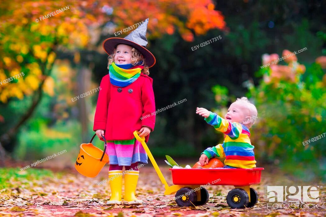 Stock Photo: Little girl in witch costume and baby boy in wheel barrow holding a pumpkin playing in autumn park. Kids at Halloween trick or treat.