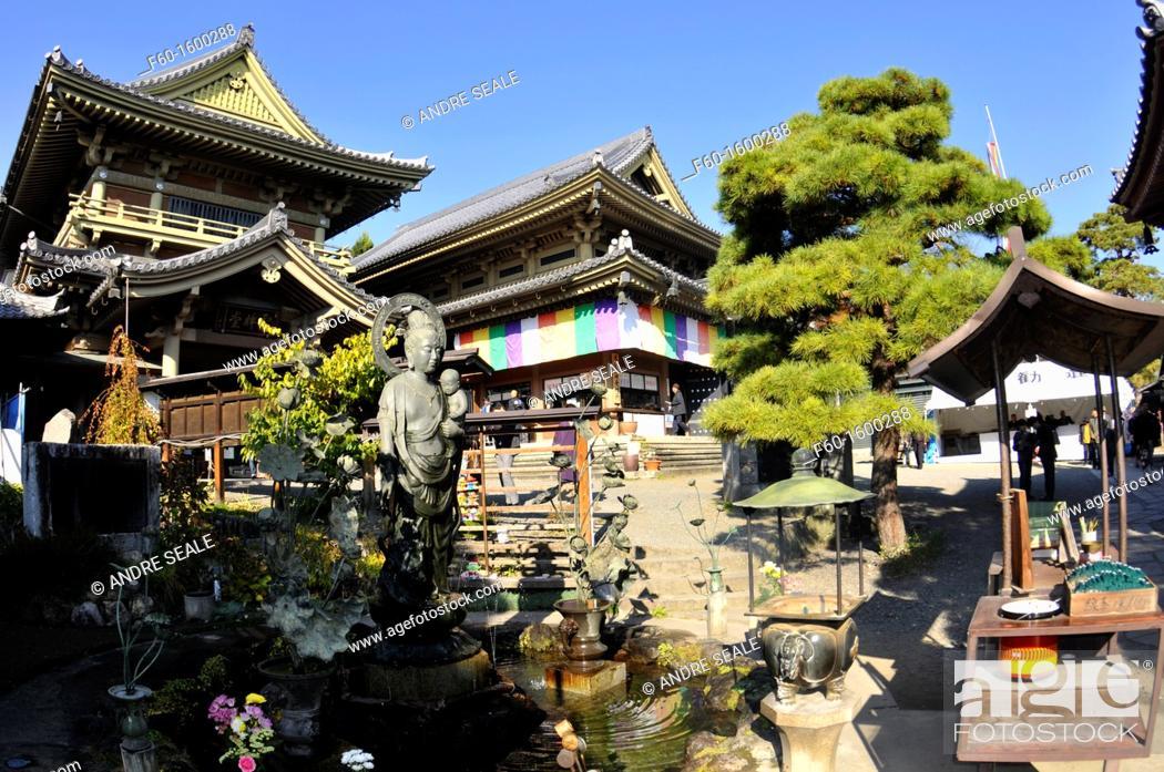 Stock Photo: Shrine and statue at Zenkoji temple, Nagano, Japan.