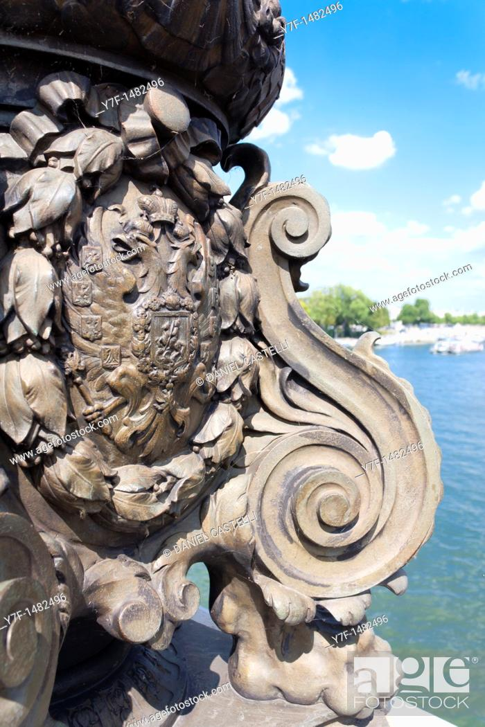 Stock Photo: sculpture, Alexander III bridge, Paris, France.