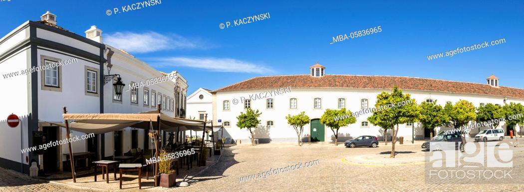 Stock Photo: Bar and Restaurant at the Paço Episcopal, the episcopal palace, on the Square Largo da Sé, Faro, Algarve, Portugal.