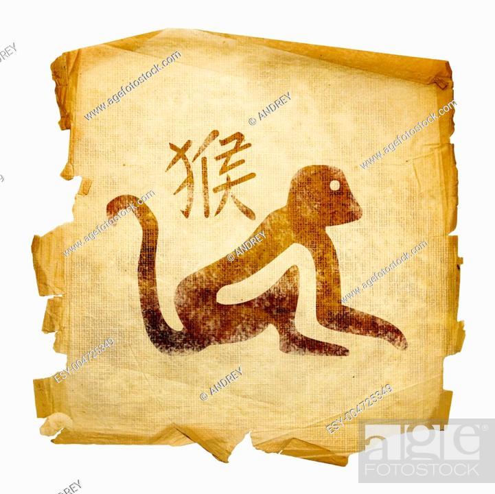 Stock Photo: Monkey Zodiac icon, isolated on white background.