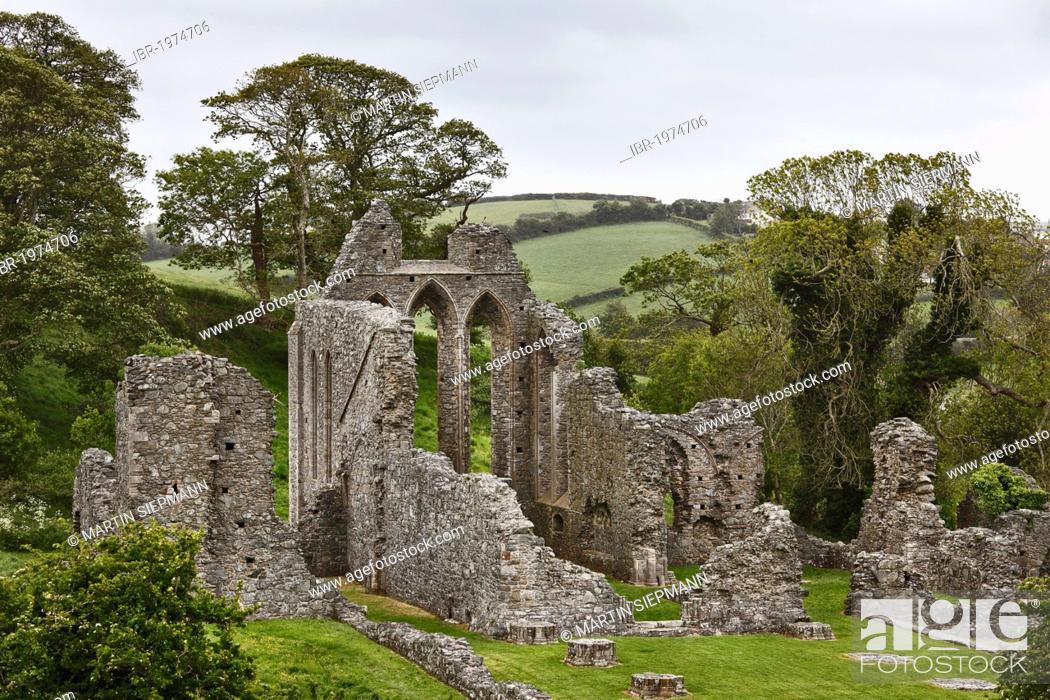 Stock Photo: Ruins of Inch Abbey, Downpatrick, County Down, Northern Ireland, Ireland, United Kingdom, Europe, PublicGround.
