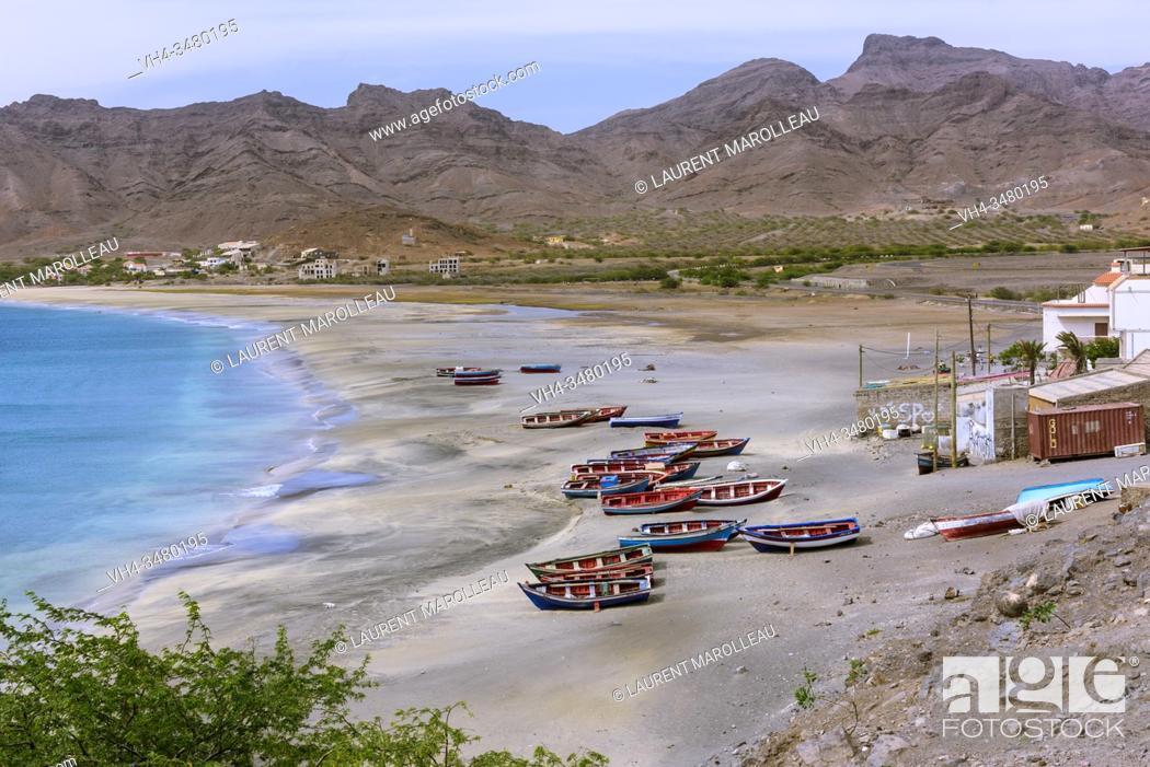 Stock Photo: Boats on the Beach of Sao Pedro Village, Sao Vicente, Cape Verde Islands, Africa.