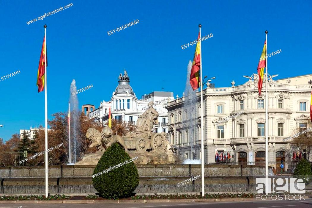 Stock Photo: Fountain of the Goddess Cibeles in City of Madrid, Spain.