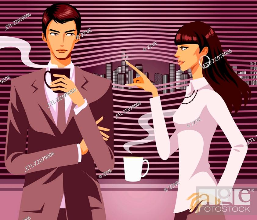 Stock Photo: Businessman looking at woman with a cup of Coffee in his hand.