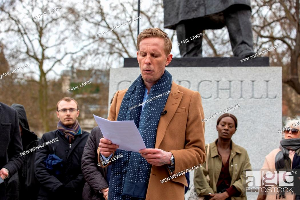 Stock Photo: ***VIDEO AVAILABLE***EMAIL PIX@WENN.COM*** Laurence Fox launches his London Mayoral Election Manifesto in Parliament Square Featuring: Laurence Fox Where:.