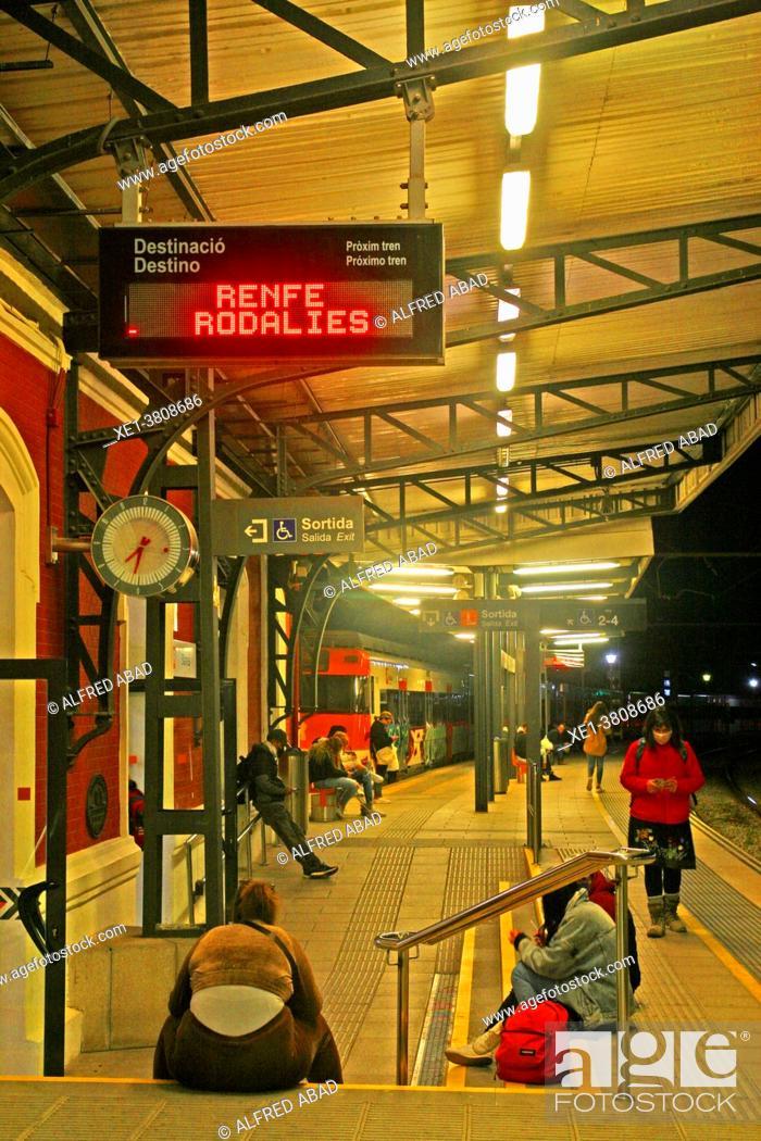Stock Photo: platform of the train station at night, Blanes, Catalonia, Spain.