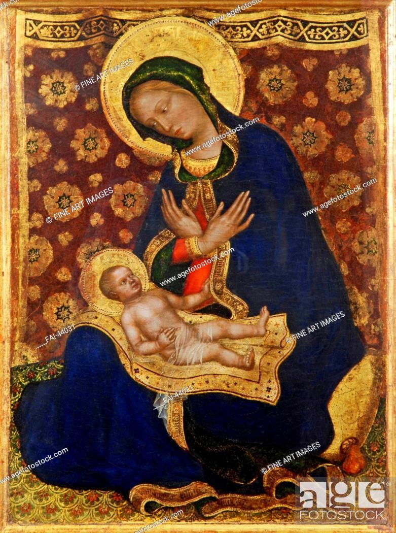 Stock Photo: Madonna of Humility (Madonna dell'Umiltà) by Gentile da Fabriano (ca 1370-1427)/Tempera on panel/Gothic/c.1420/Italy, School of Umbria/Museo Nazionale di San.