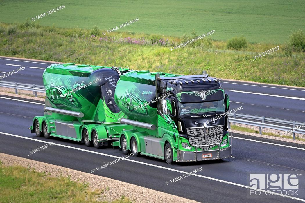 Stock Photo: Mercedes-Benz Actros 2551 Highway Hero show truck and bulk transporter of Kuljetus Auvinen Oy on the road in summer. Salo, Finland - July 13, 2018.